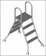 Vysoký bazénový rebrík  3/3   stupňový