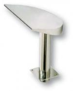 Széles félhold alakú vízköpő, 380 mm széles, felfelé áramló vízsugár, csatlakozás 75 mm, fényes