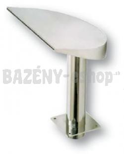 Chrlič, široký pólmesiac, š 380 mm, prúd vody nahor, pripojenie 75 mm, lesklý